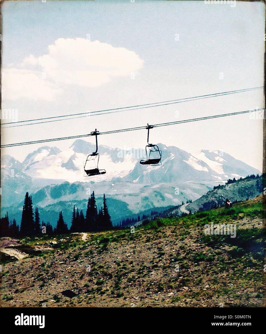 Empty chairlifts at Whistler Ski Resort in summer Stock Photo