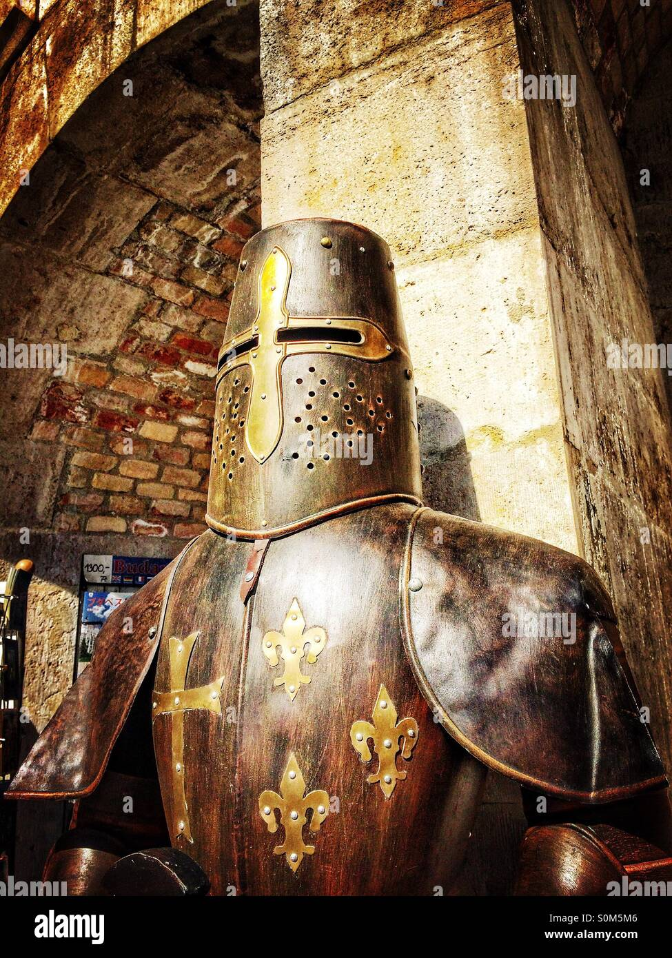 Medieval soldier armour at the Castle District in Budapest, Hungary - Stock Image