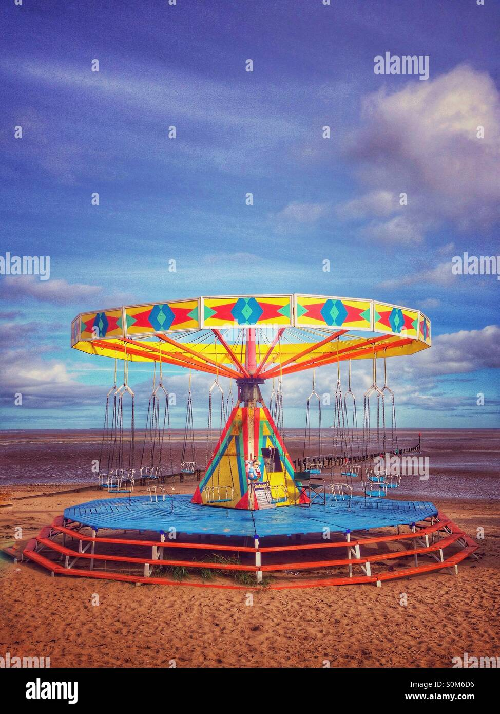End of season beach amusements - Stock Image
