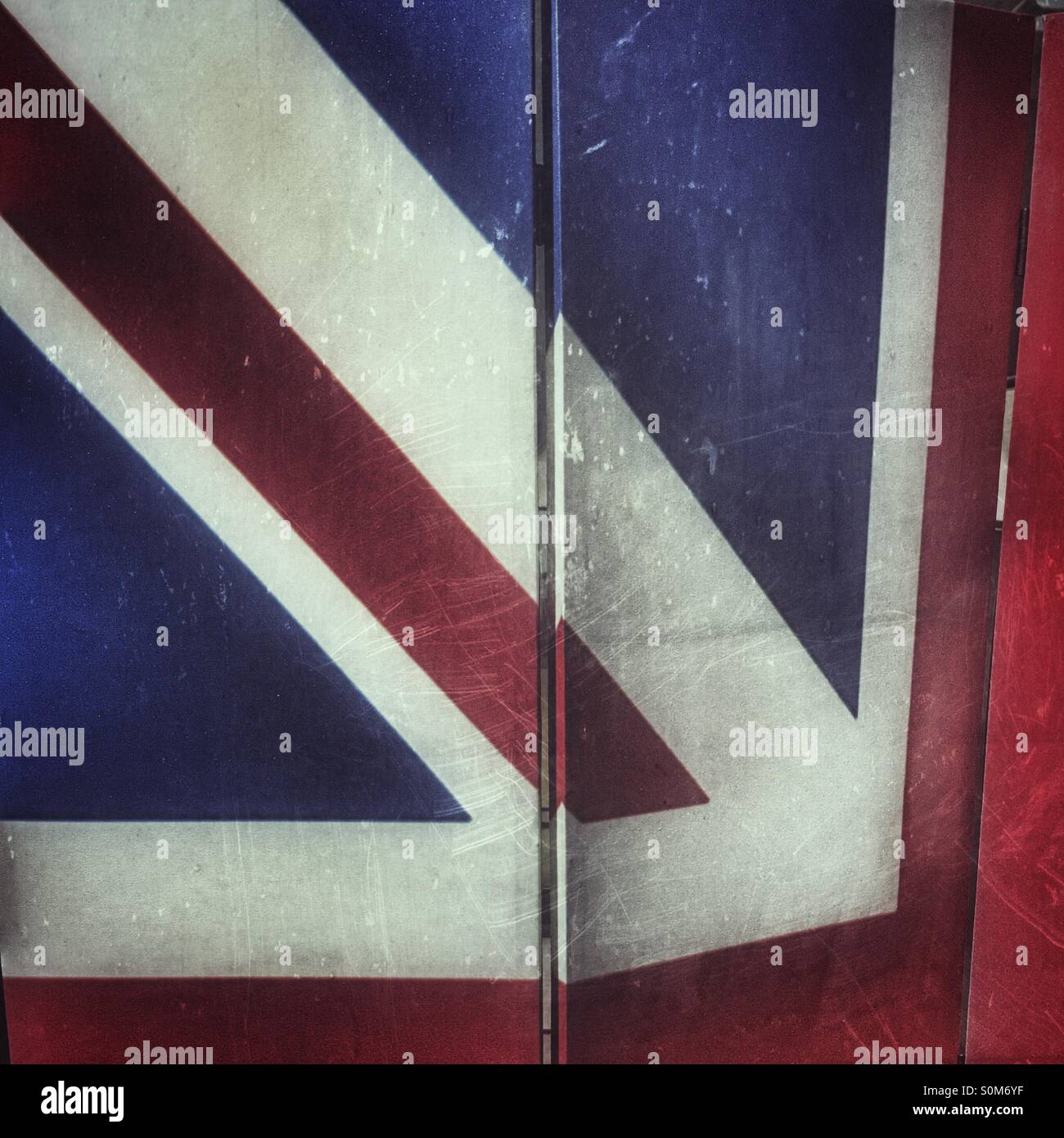 Union Jack pattern on a folding screen Stock Photo