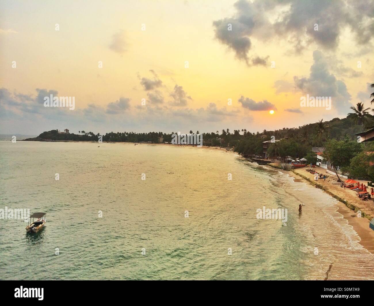 Unawatuna sunset in Sri Lanka Stock Photo