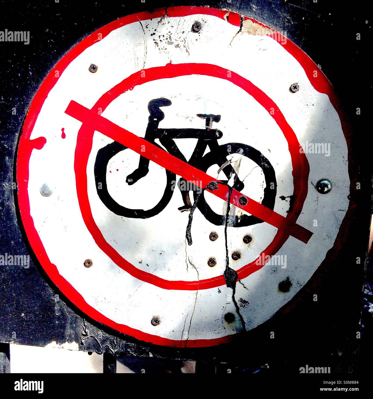 Hand Made No Bike Sign Lower East Side Ny Stock Photo 310232164