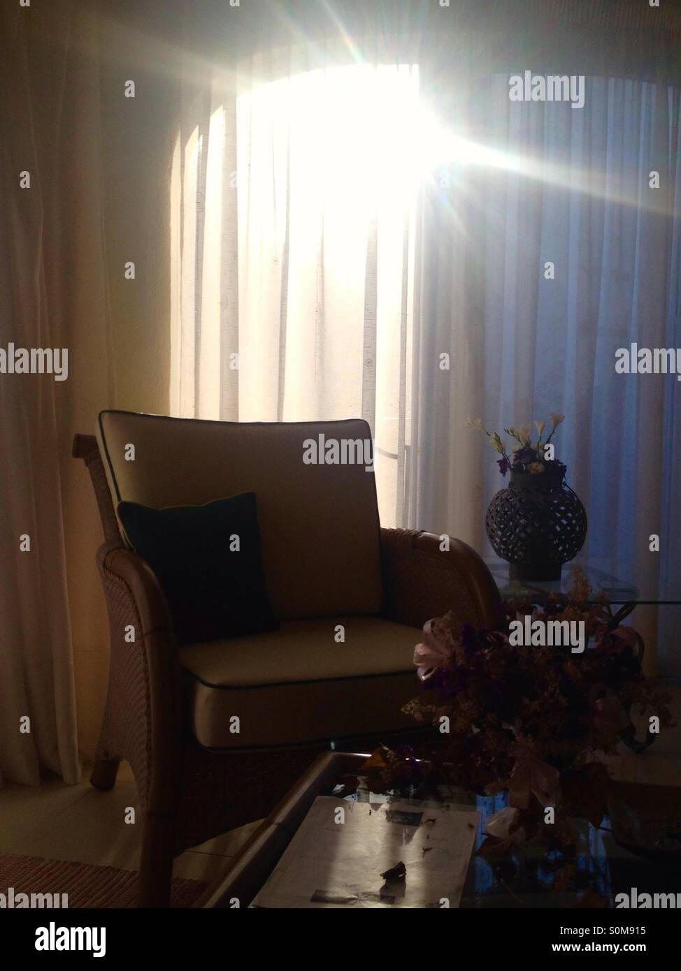 The passing of time. Chair backlit from golden sun shining through opaque curtain onto table with decaying flowers - Stock Image