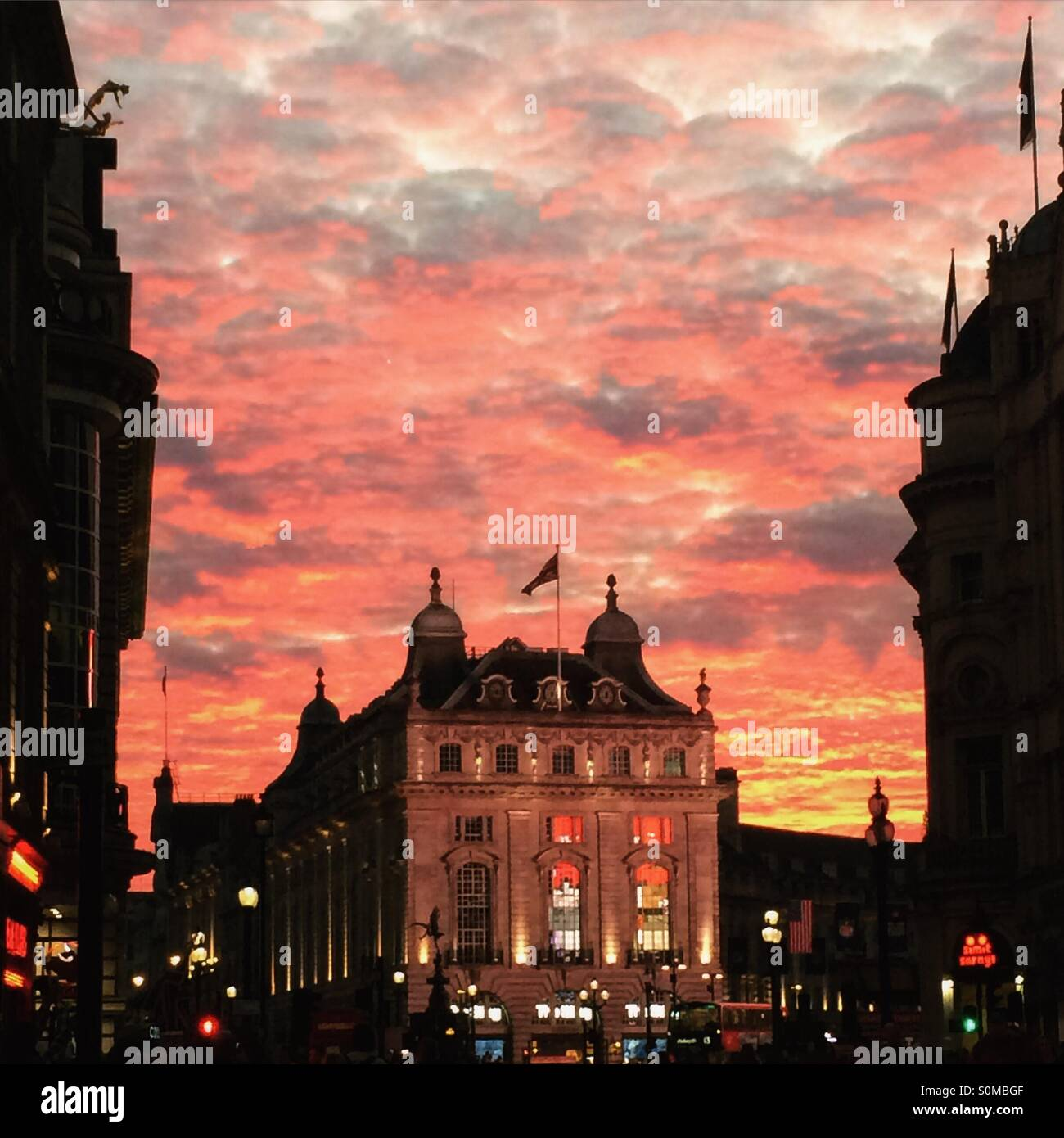 Sunset in Sunday afternoon, 11 October 2015, Picadilly circus, London UK - Stock Image