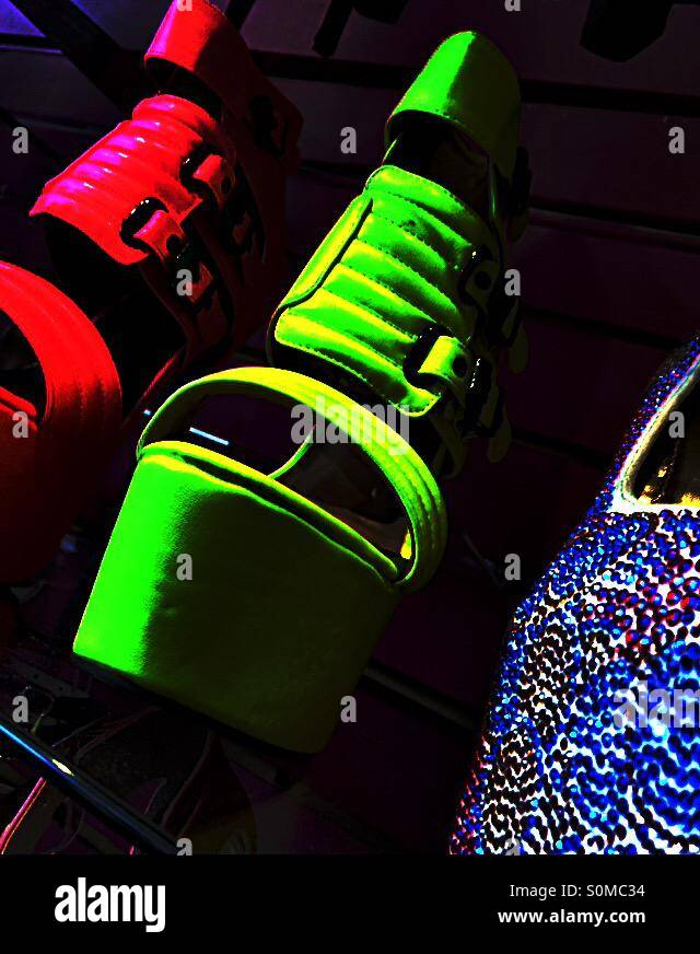 Neon green platform shoes - Stock Image