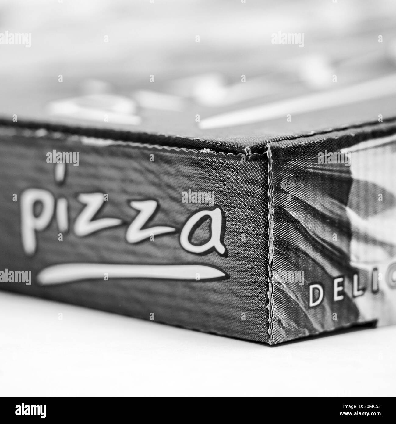 Close up of a take out pizza box - Stock Image