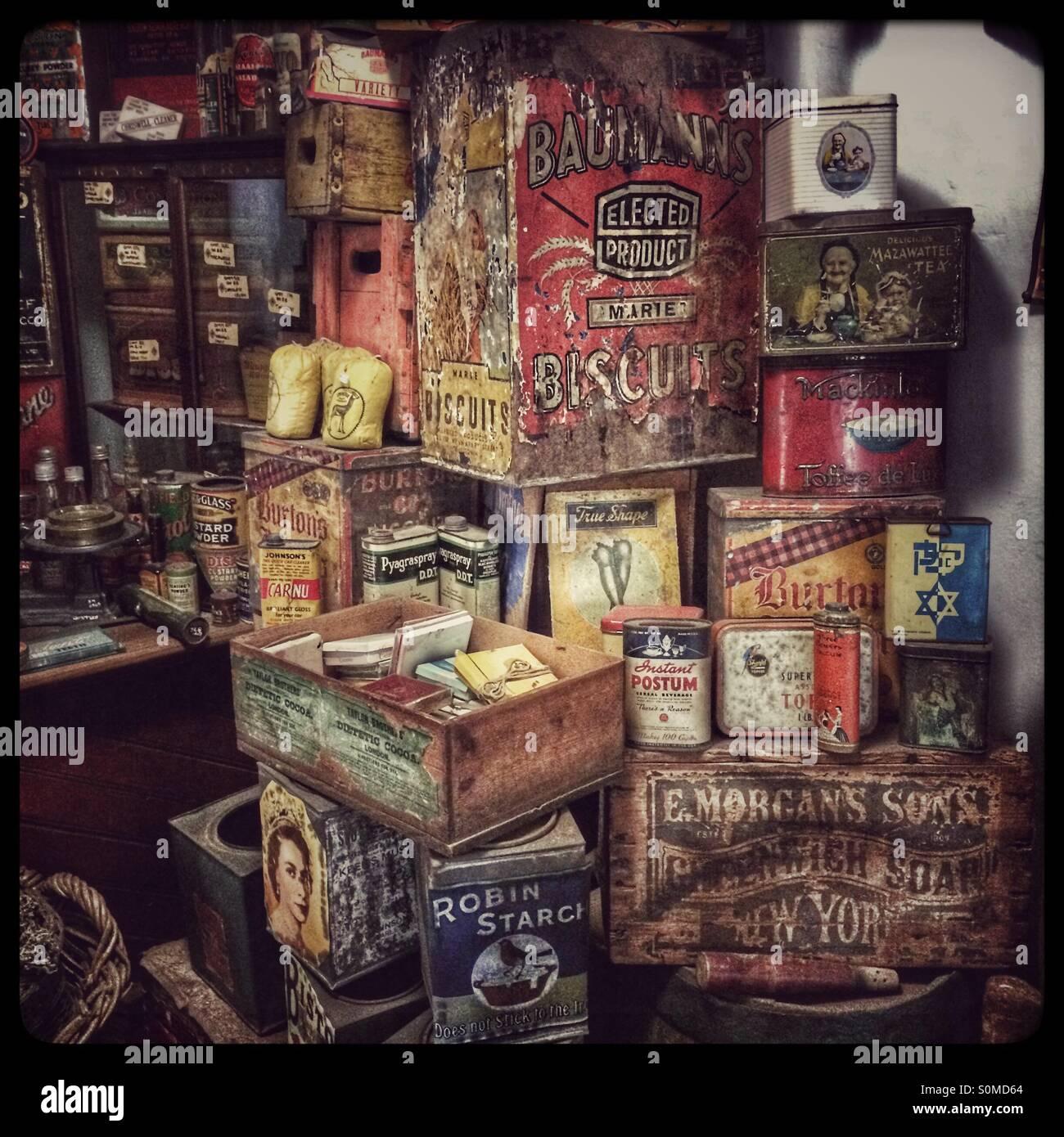 Display of vintage tins in Genadendal museum. - Stock Image