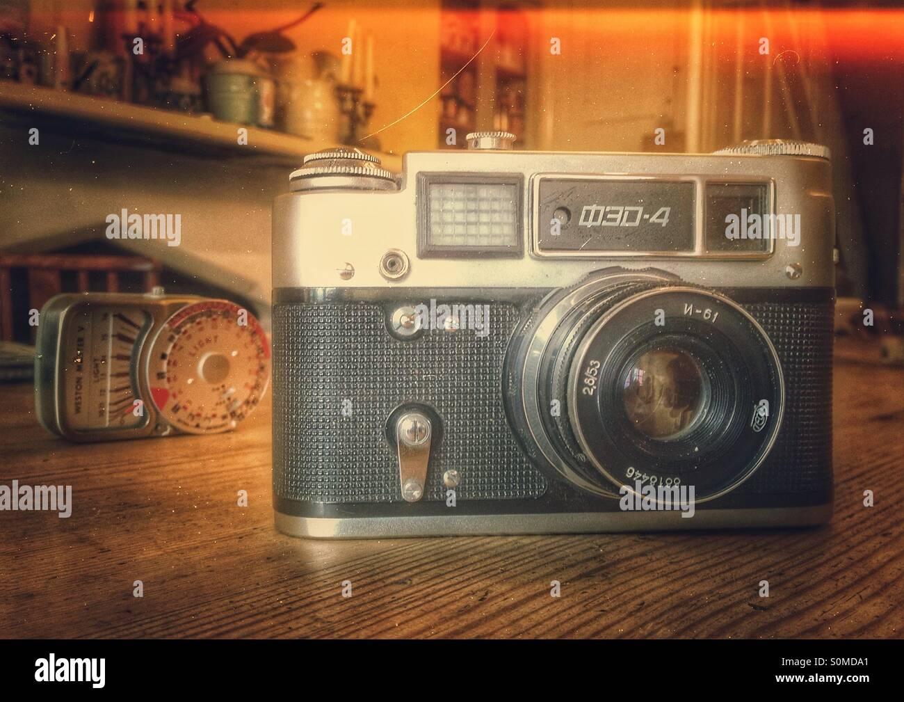 Old fed4 rangefinder camera - Stock Image