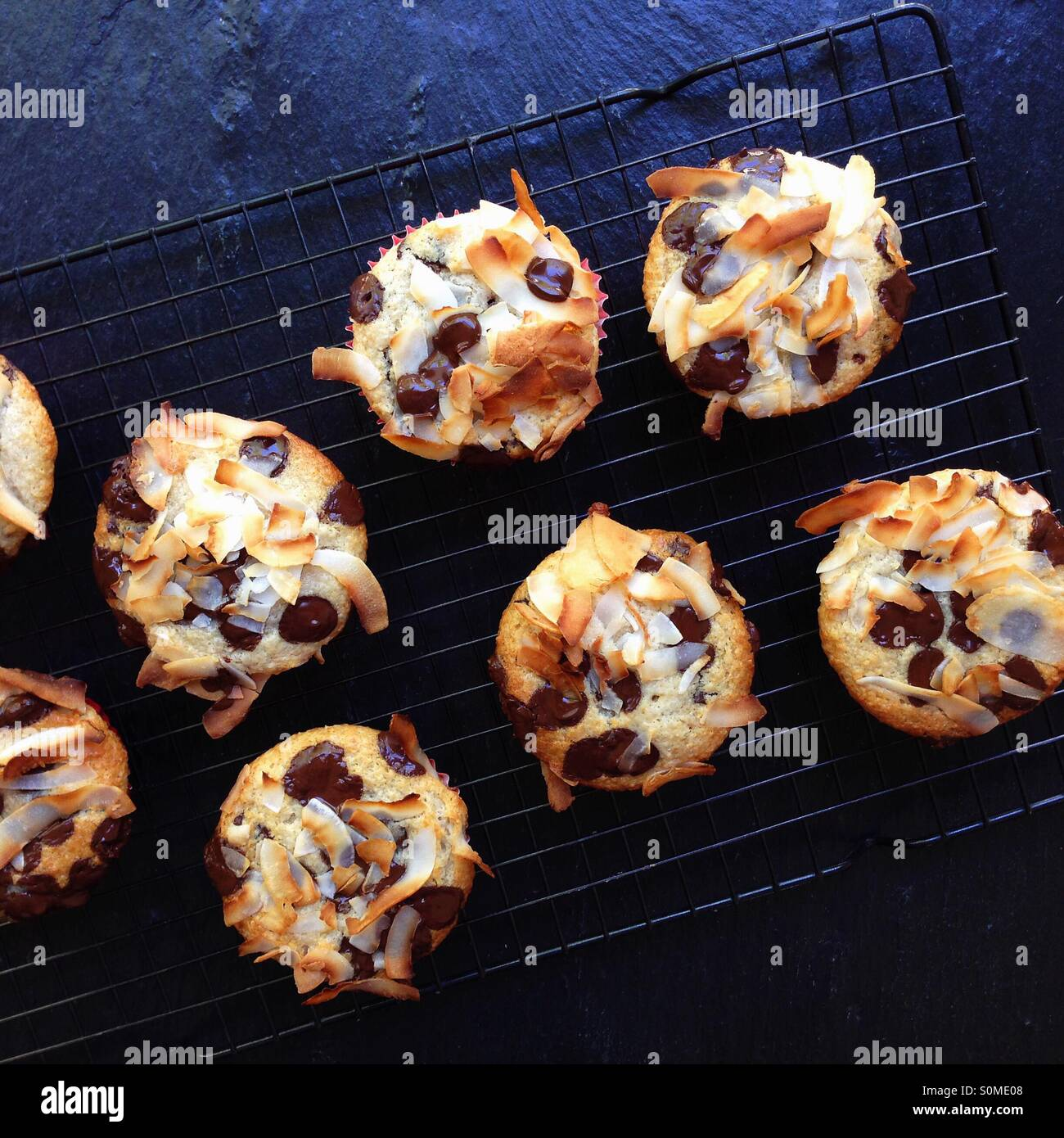 Coconut and Chocolate Chip Muffins - Stock Image