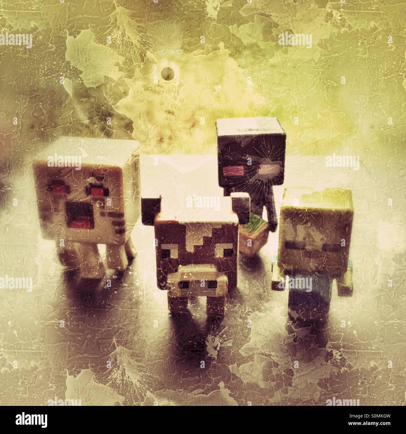 Plastic characters from Minecraft - Stock Image