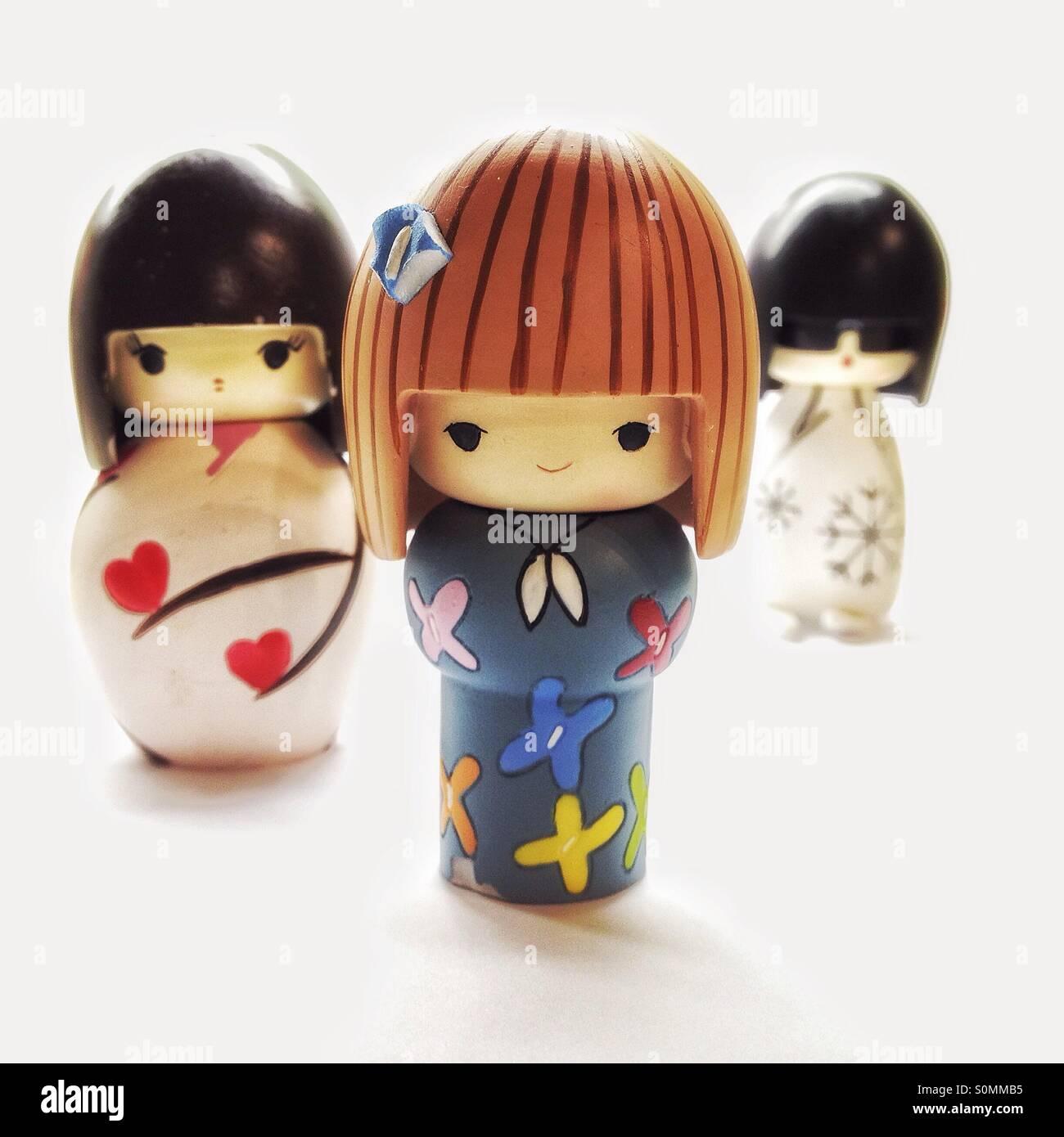 Japanese stylised Kokeshi dolls - Stock Image