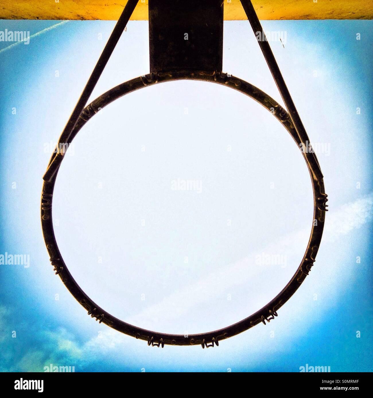 Basketball hoop metal ribg viewed from below - Stock Image