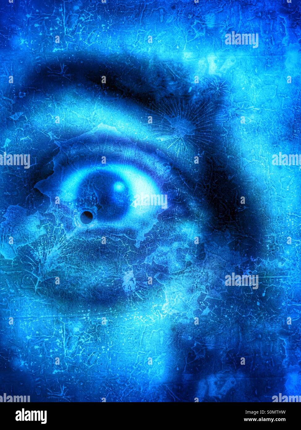 Close up of a man face with blue teint and grunge effect, fear concept. - Stock Image
