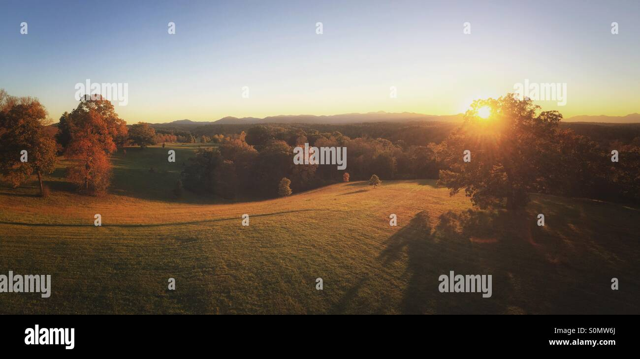 A panorama of beautiful rolling hills in evening light near Asheville, North Carolina - Stock Image