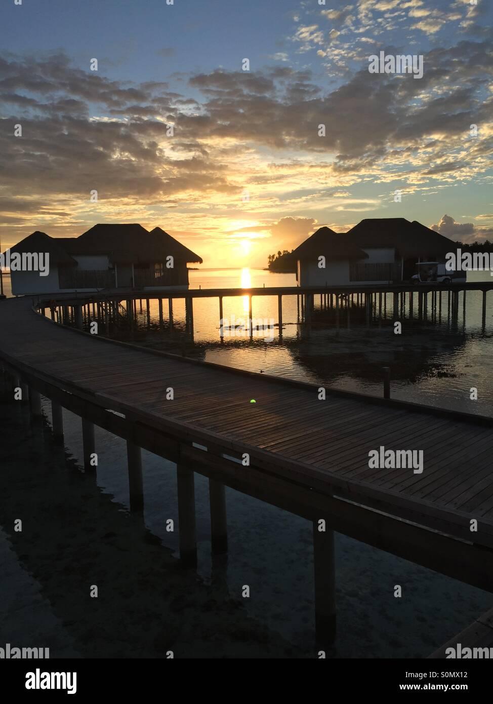 Sunset in Maldives - Stock Image