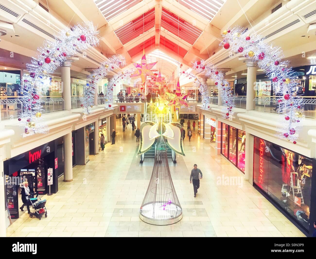 Christmas Shopping Mall - Stock Image