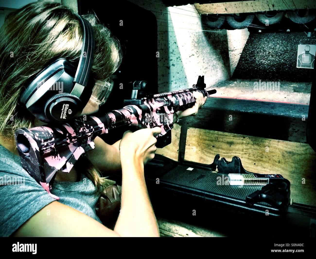 Pink Camo Rifle - Stock Image