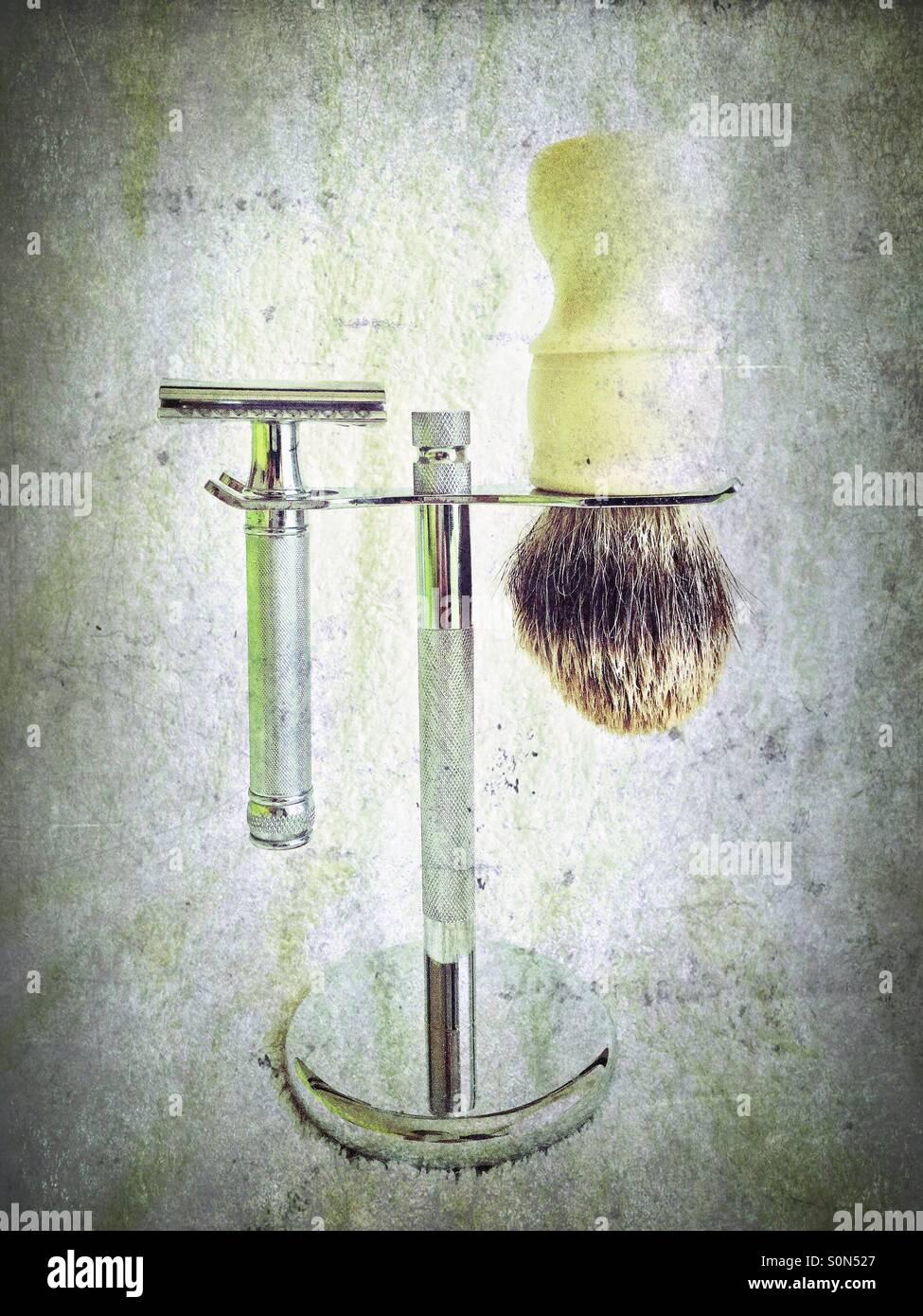 Wet Shaving Stock Photo