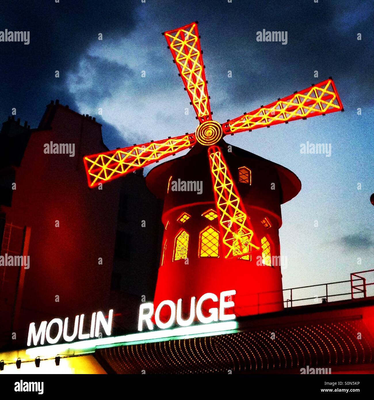 Murky Moulin Rouge - Stock Image