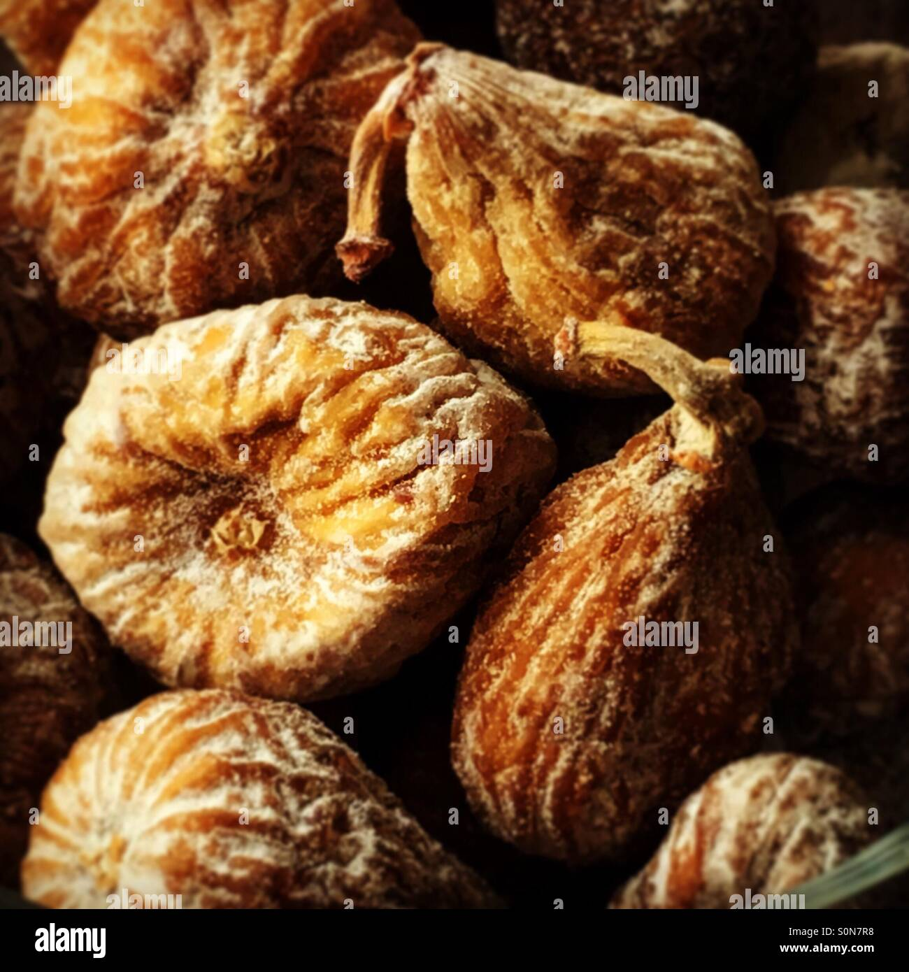 Dried figs, healthy and good for digestion. - Stock Image