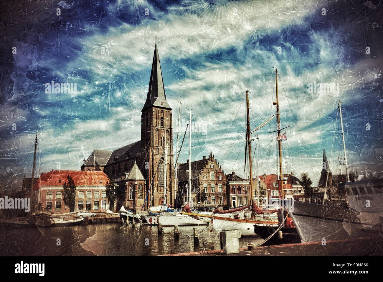 Port with houses and a church. Port with characteristic old Dutch buildings and a church. (Picture edited heavily) Stock Photo