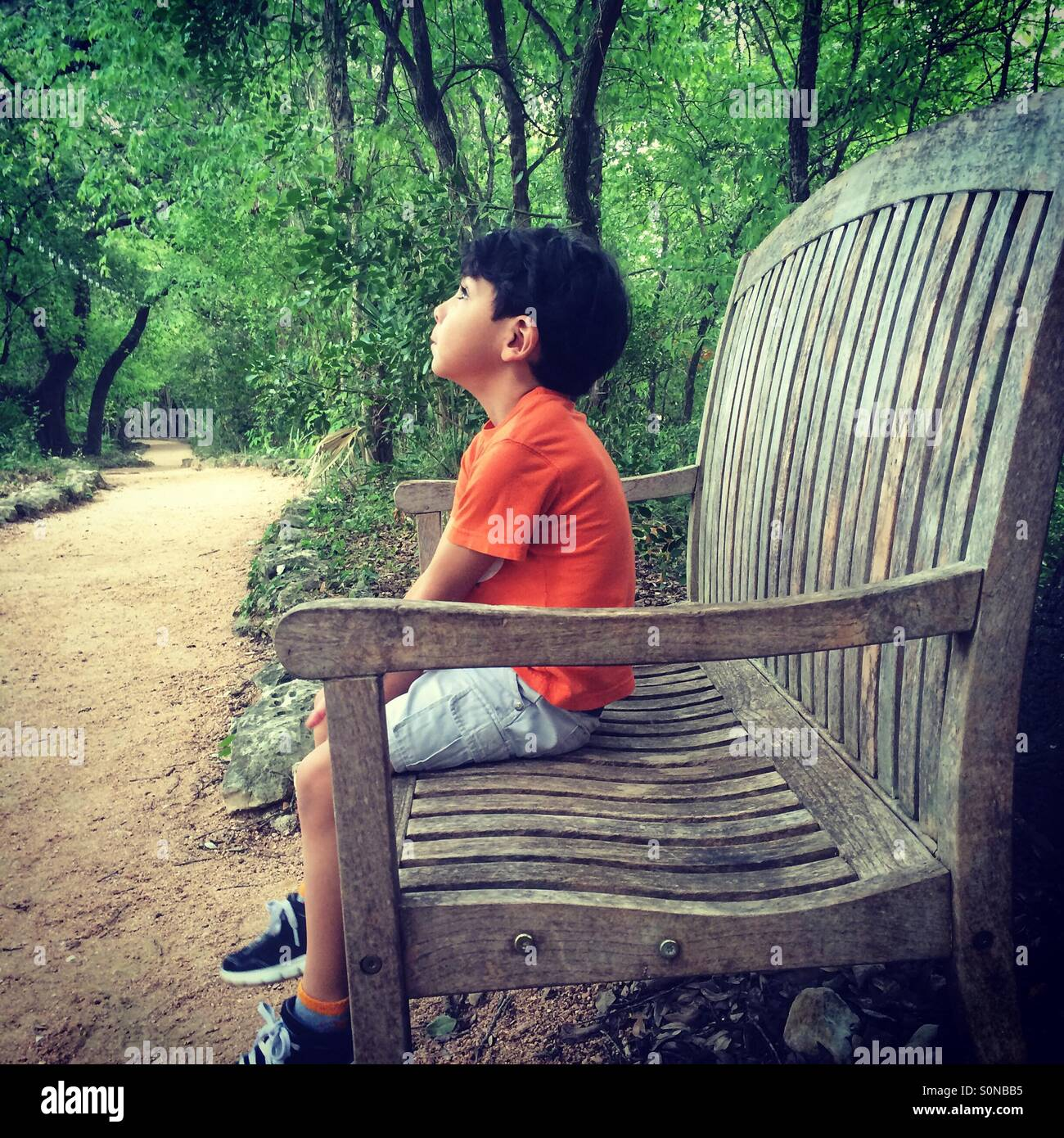 Boy on a bench - Stock Image