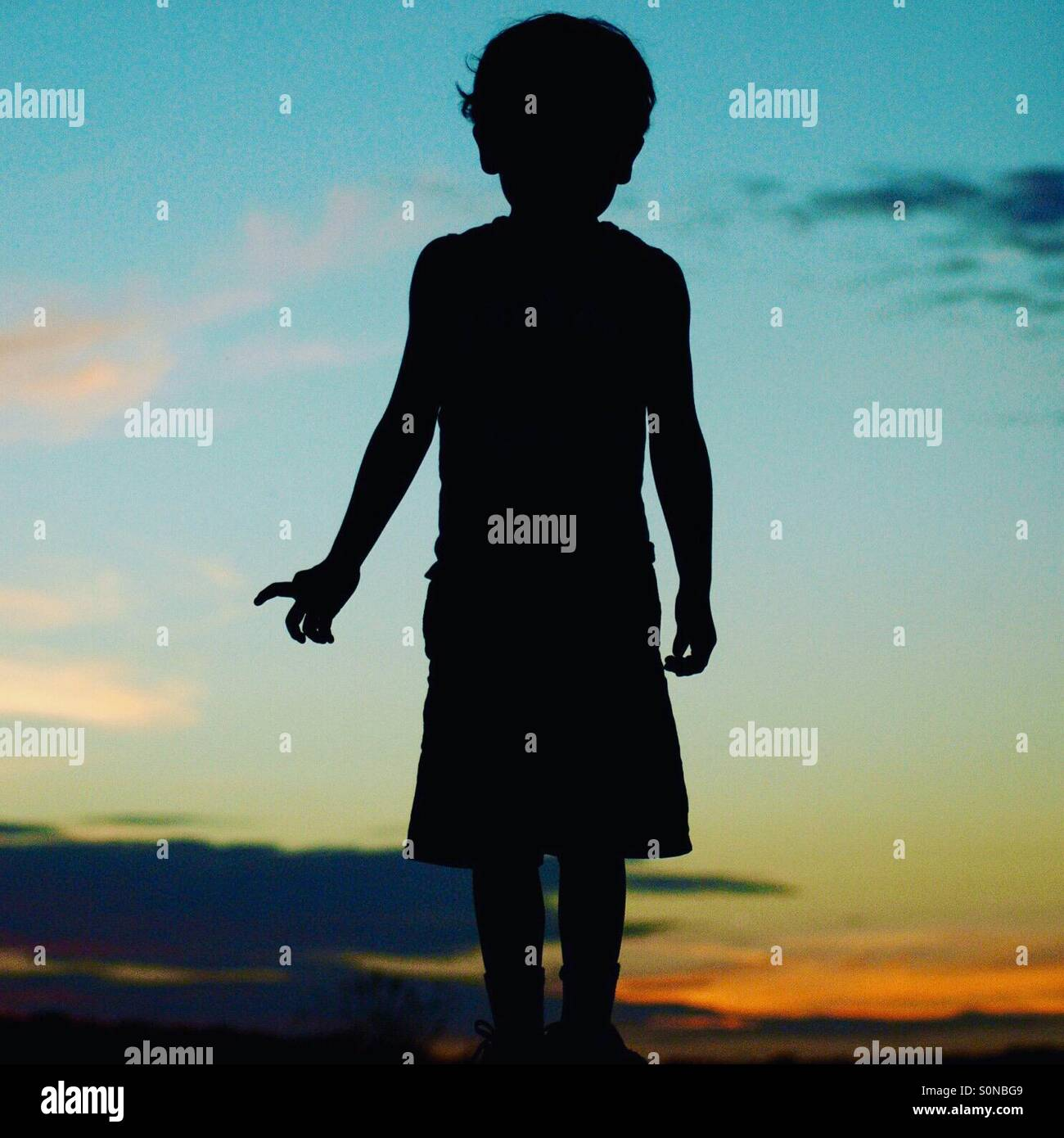 Boy silhouette - Stock Image