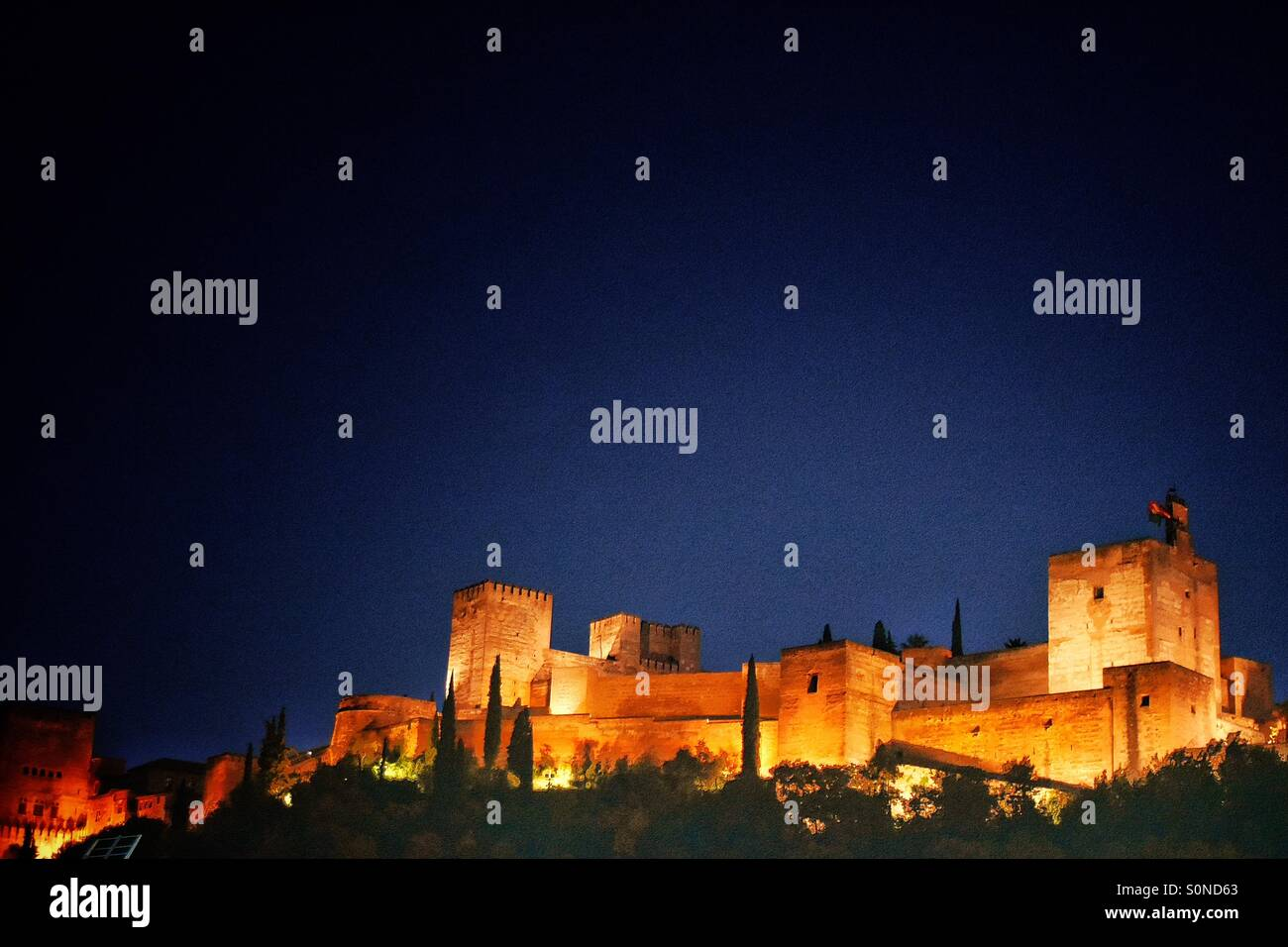 Alhambra, Granada, Spain. insights from Plaza de los Carvajales - Stock Image