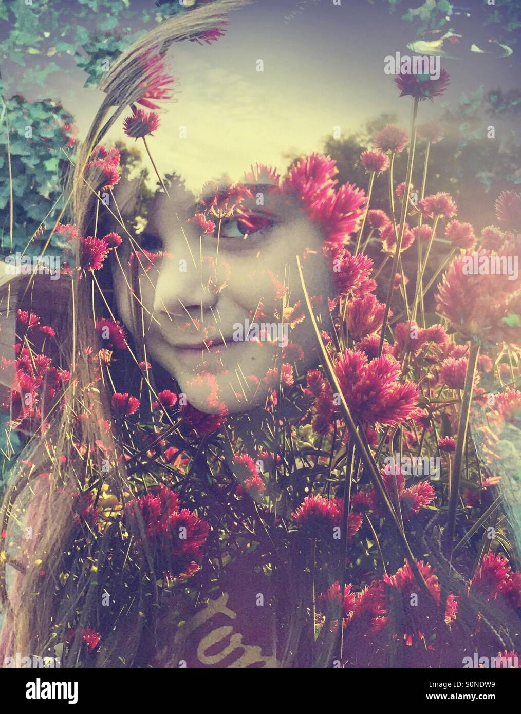A double exposure image of a girl sitting against a backdrop of pink wildflowers. - Stock Image