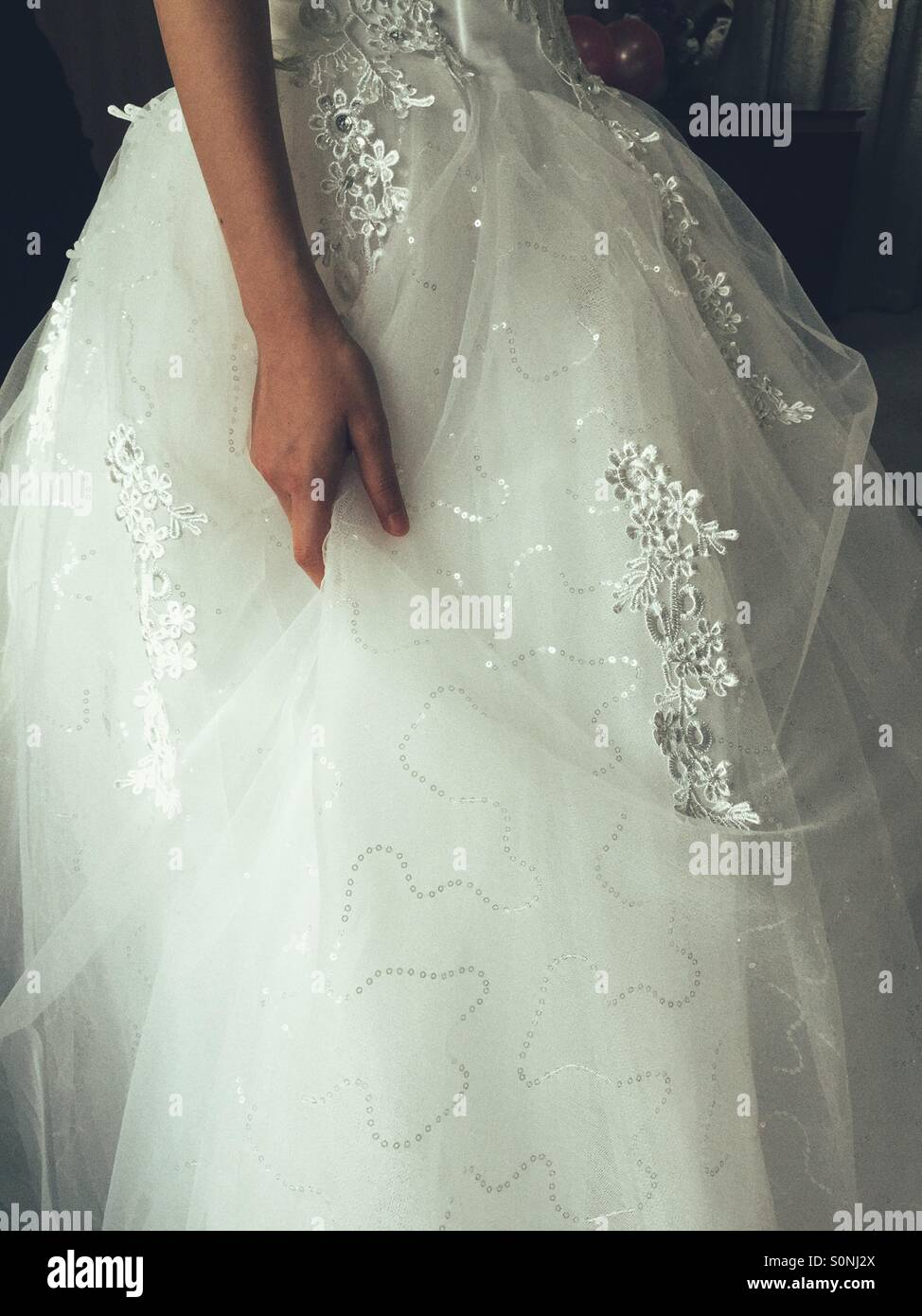 Wedding dress detail - Stock Image