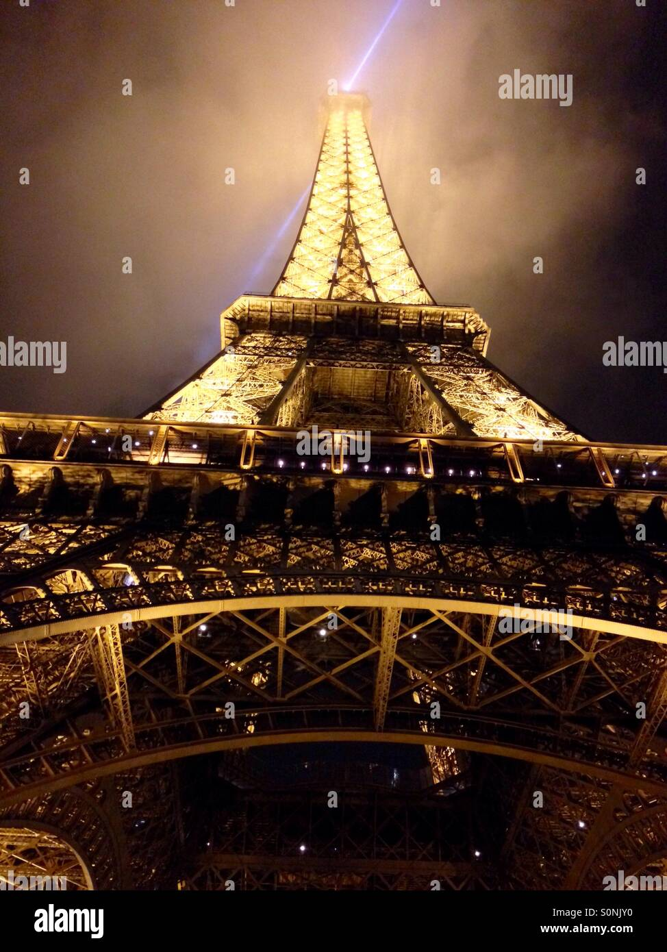 The Eiffel Tower at night. - Stock Image