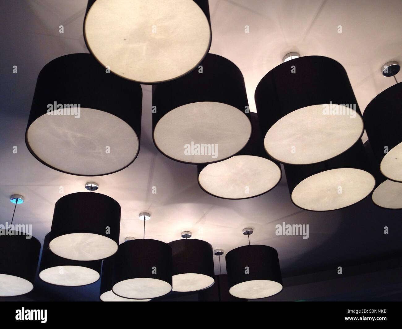 Ceiling lights in hotel - Stock Image