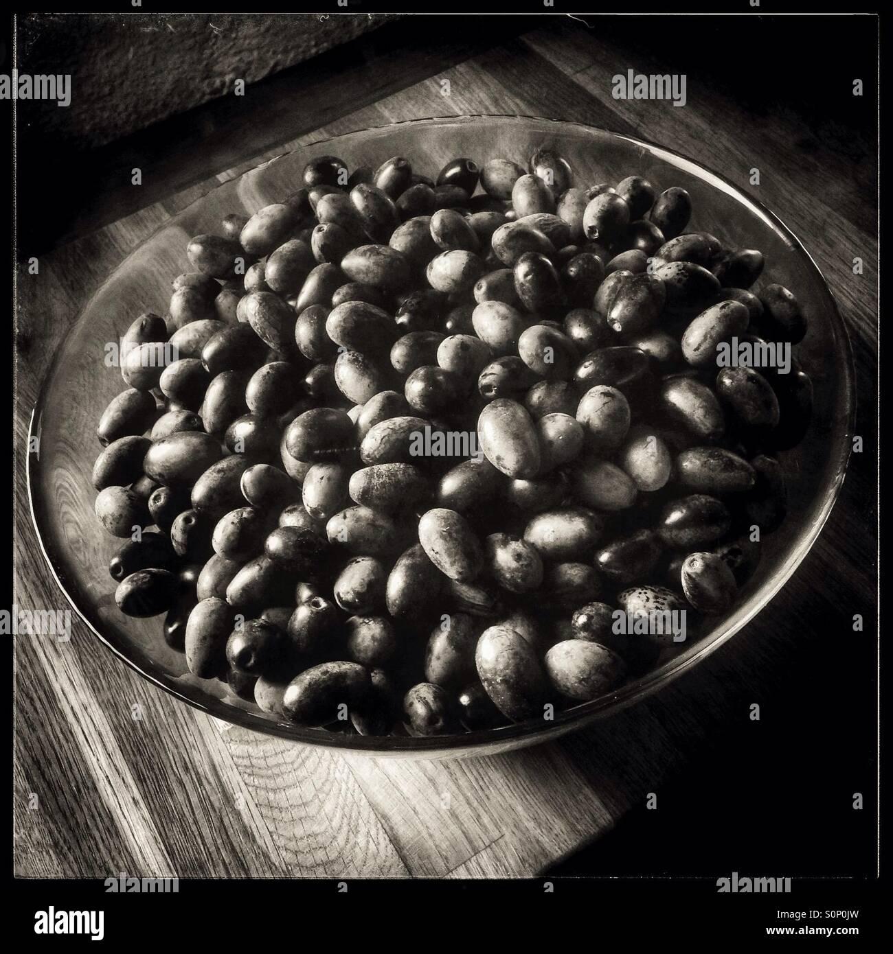 A bowl of freshly harvested black-ripe Spanish Empeltre olives ready for preserving, Catalonia, Spain - Stock Image