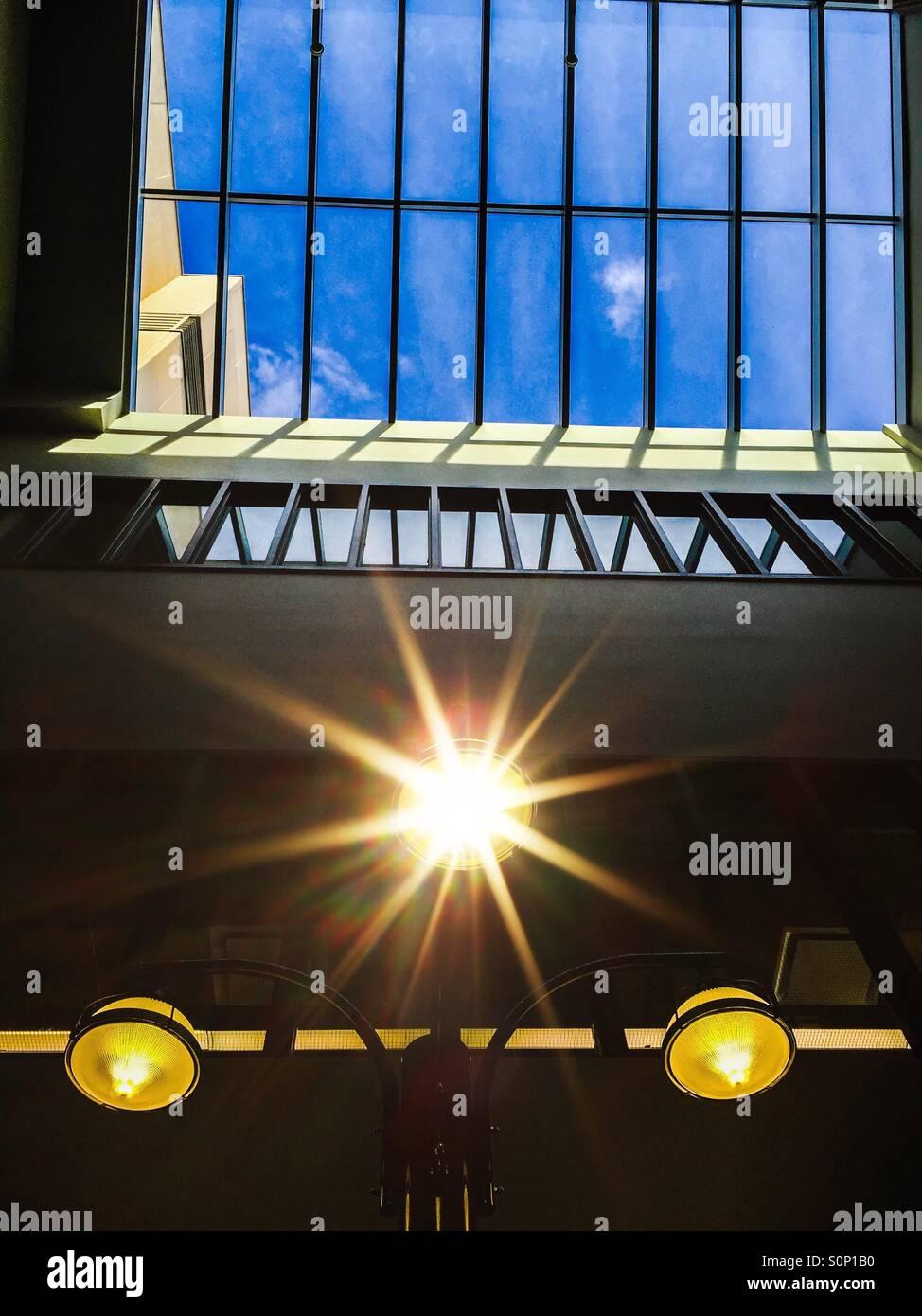 Three lights and a window - Stock Image