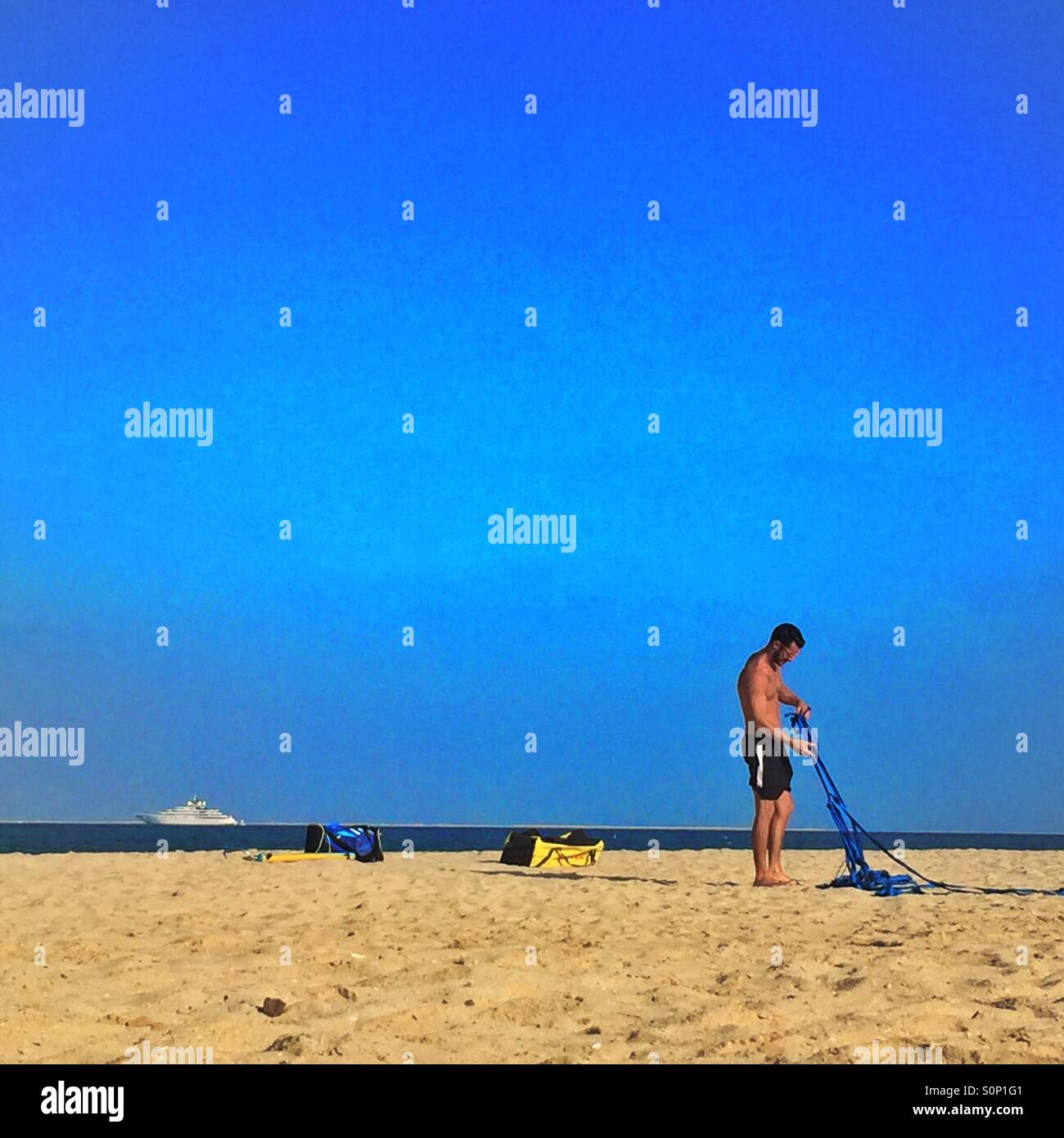 A day on the beach - Stock Image