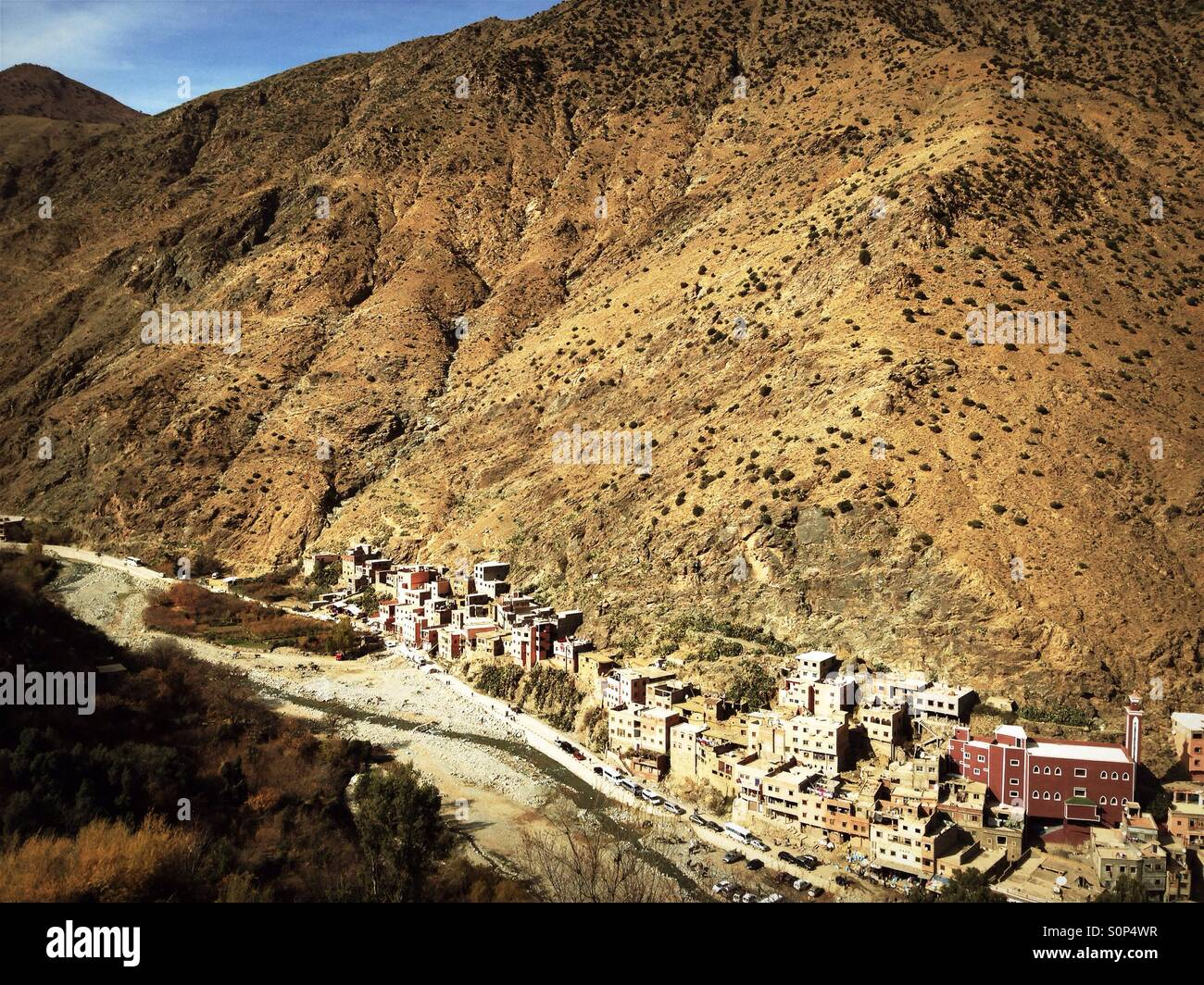 Berber village in Ourika valley, Morocco - Stock Image