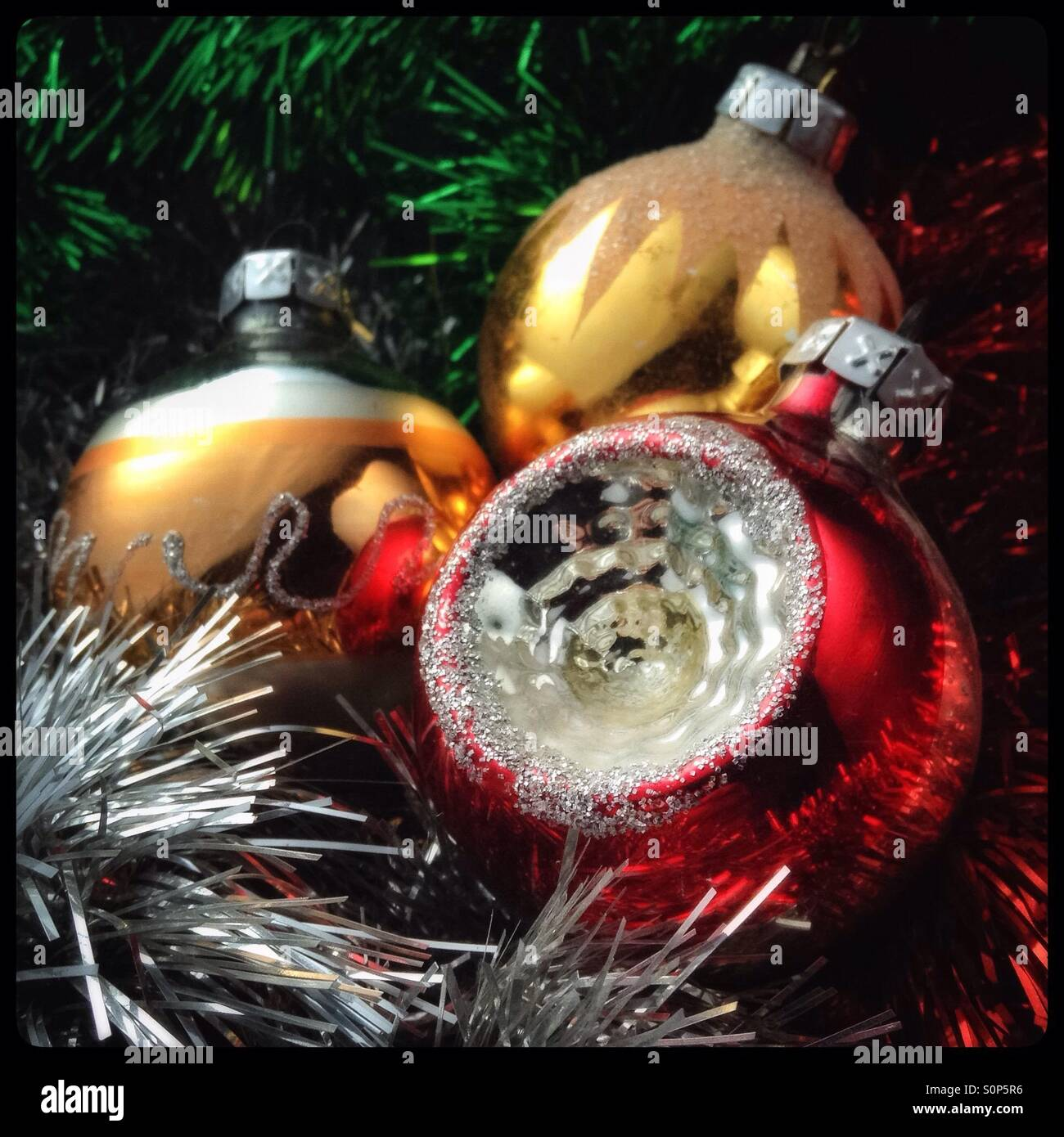 Vintage Christmas Tree Baubles With Tinsel Stock Photo Alamy