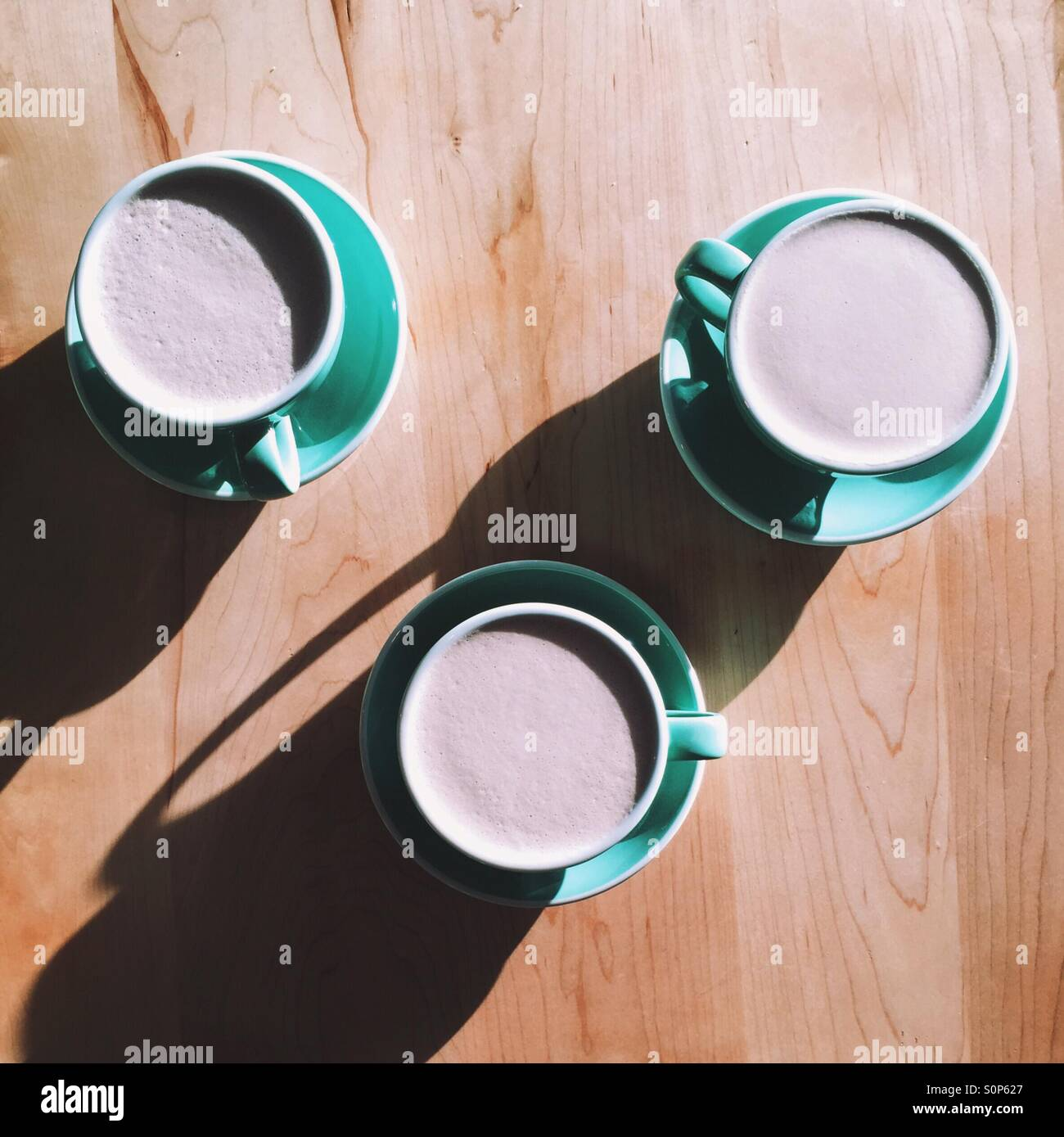 Three Hot Chocolates - Stock Image
