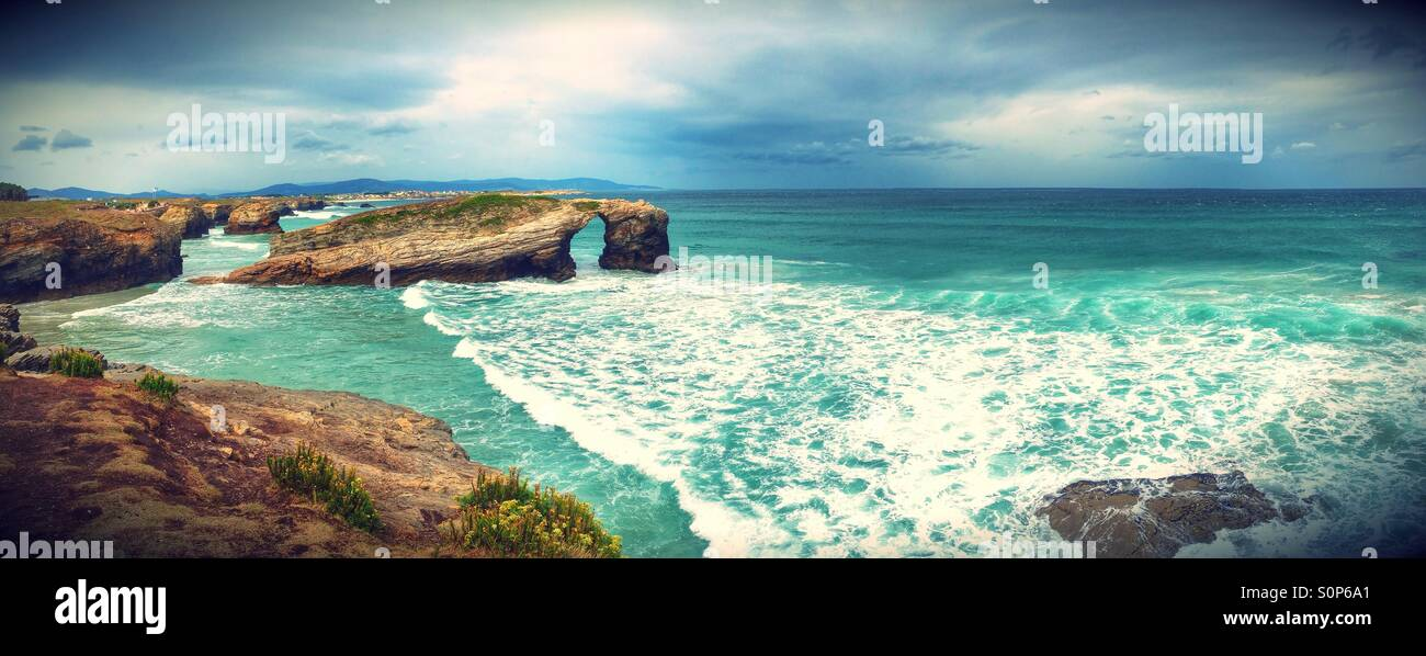 Panoramic view of the beach of the Cathedrals in Ribadeo, Galicia - Spain - Stock Image