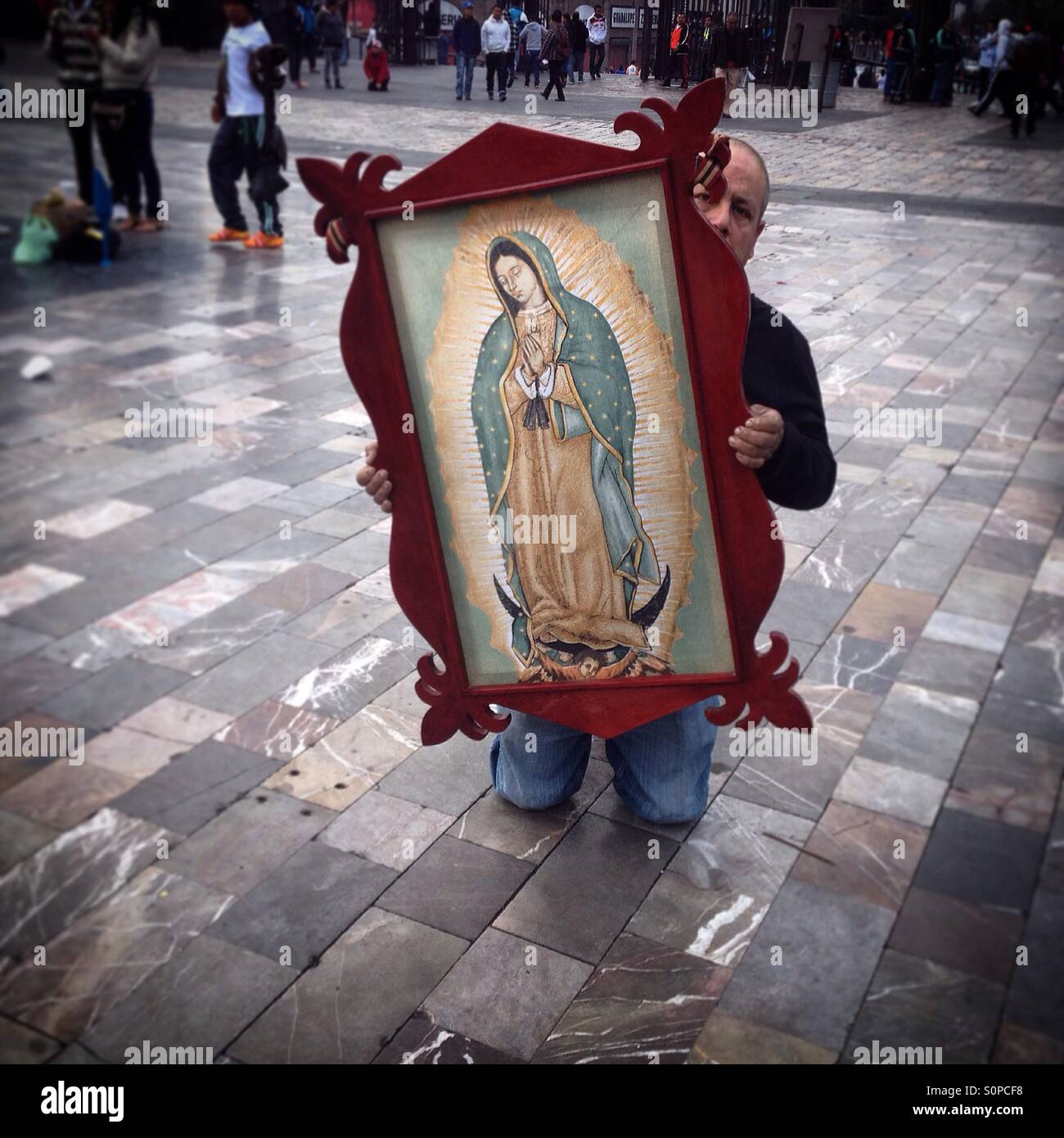 A pilgrim carries a picture as he walks on his knees during the pilgrimage to the Basilica of Our Lady of Guadalupe, - Stock Image