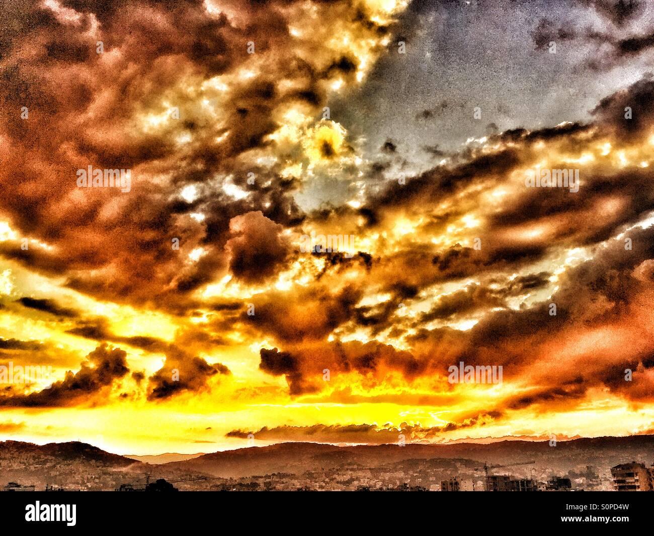 Sun rise,mont lebanon,sun light,clouds,Husseinelsaneh - Stock Image