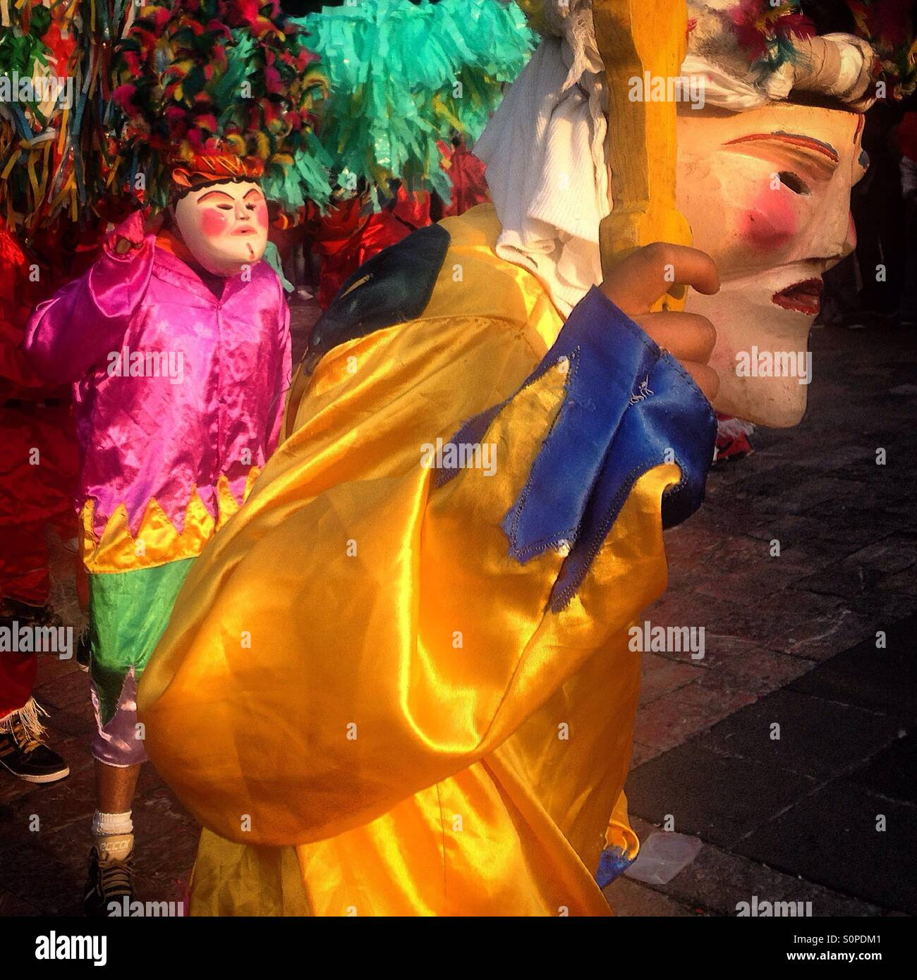 Dancers from El Palmar, Puebla, perform the Danza de los Viejitos during the pilgrimage to the Basilica of Our Lady - Stock Image