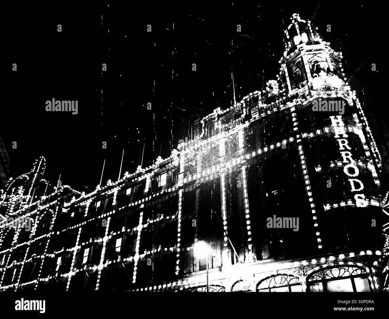 Harrods at night, Brompton Road, Knightsbridge, Royal Borough of Kensington and Chelsea, Central London, England, Stock Photo