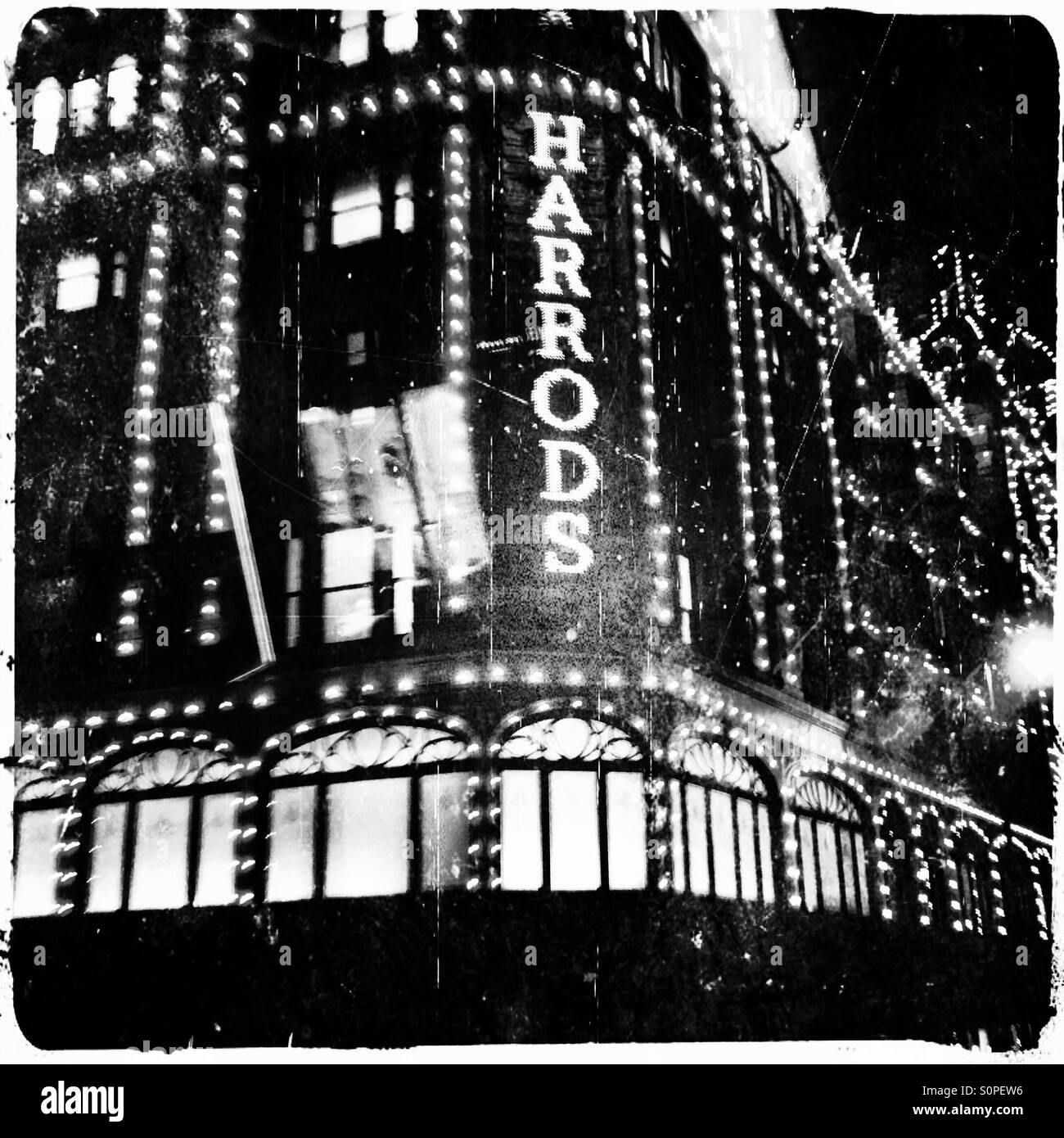 Harrods at night, Brompton Road, Knightsbridge, Royal Borough of Kensington and Chelsea, Central London, England, Stock Photo