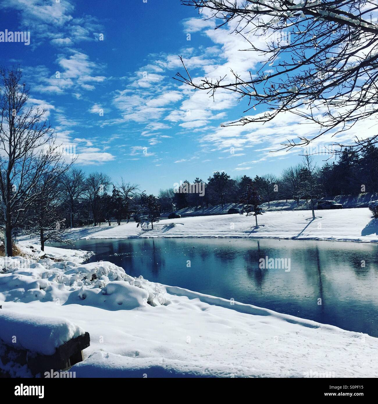 Beautiful lake and snow during winter in Windy City Chicago. - Stock Image