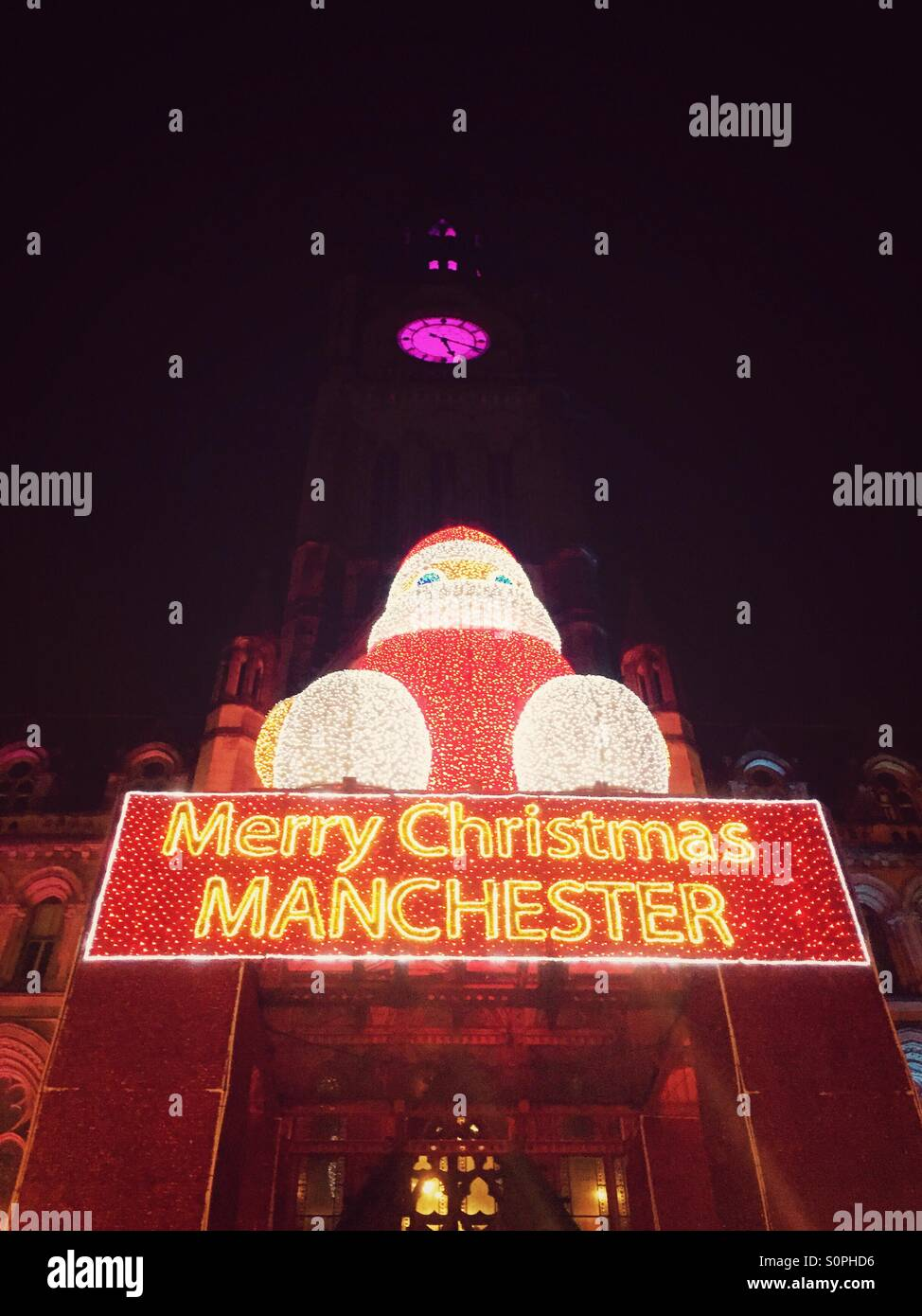 Merry Christmas sign, Manchester Christmas Market - Stock Image