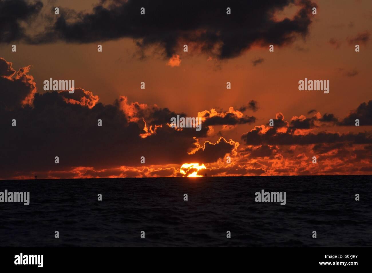 Red sun - Stock Image