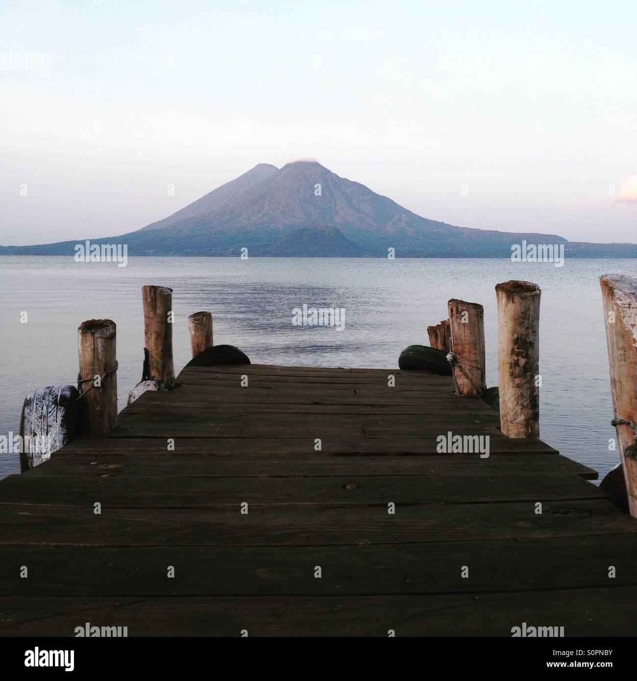 Sunrise at Lago Atitlán - Stock Image