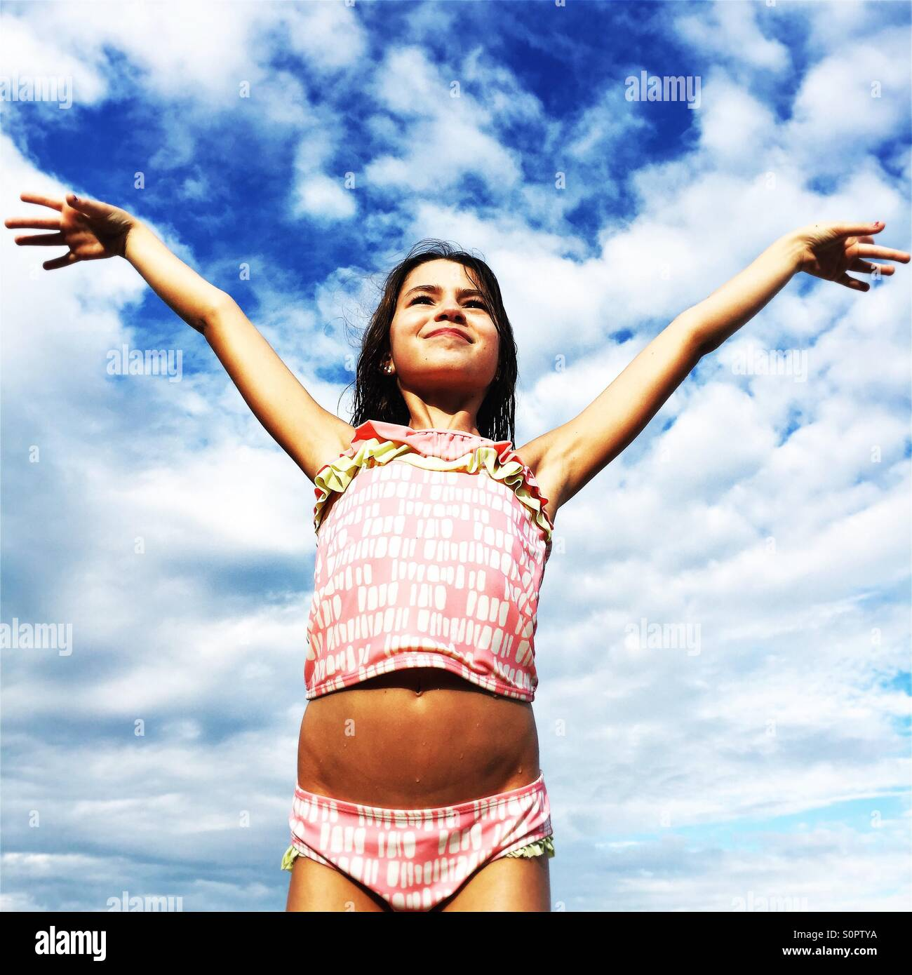 Girl in bathing suit - Stock Image