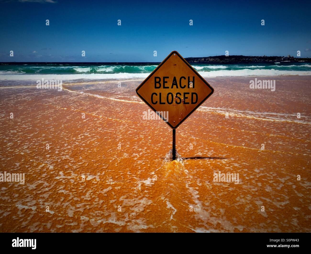Beach closed! - Stock Image